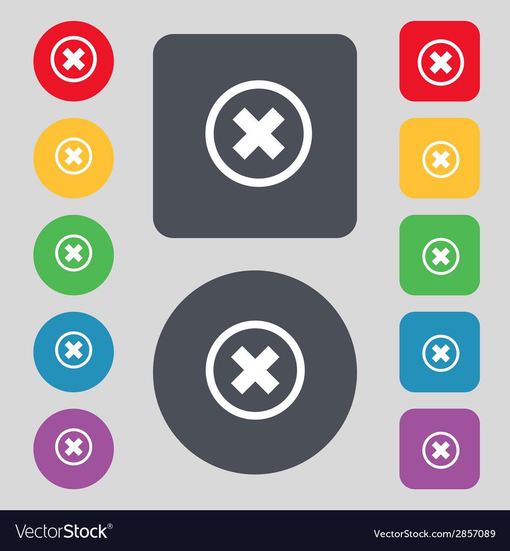 Cancel icon no sign set colour button vector | Price: 1 Credit (USD $1)