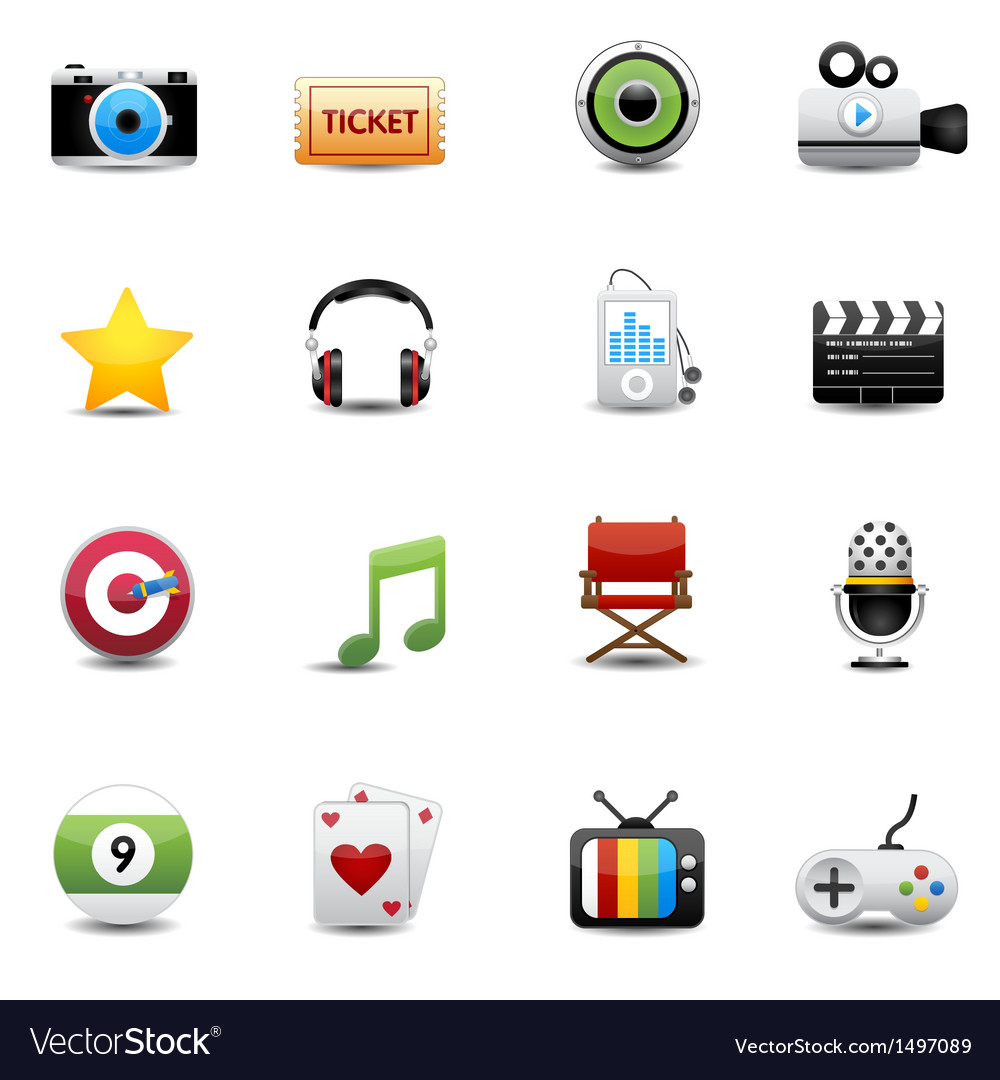 Entertainment and movie icons set vector | Price: 3 Credit (USD $3)