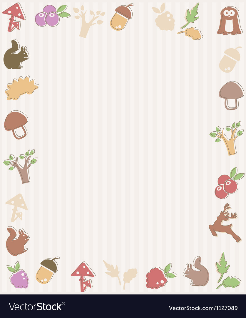 Frame with woodland icons vector | Price: 1 Credit (USD $1)