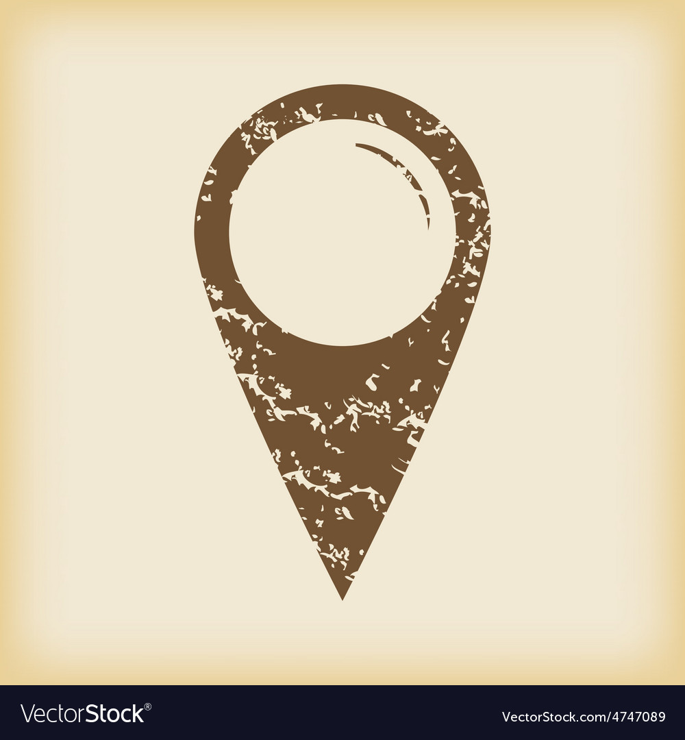 Grungy map pointer icon vector | Price: 1 Credit (USD $1)