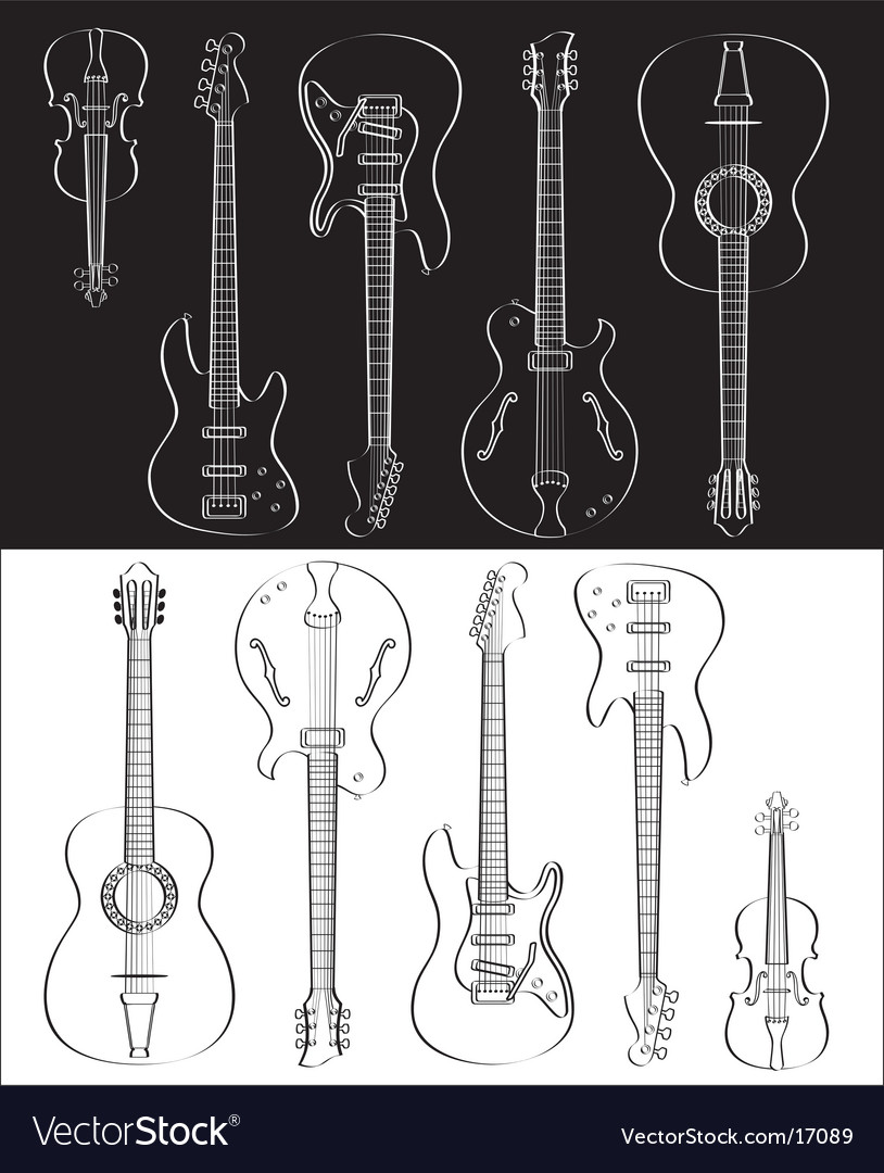 Guitar and violin set vector | Price: 1 Credit (USD $1)