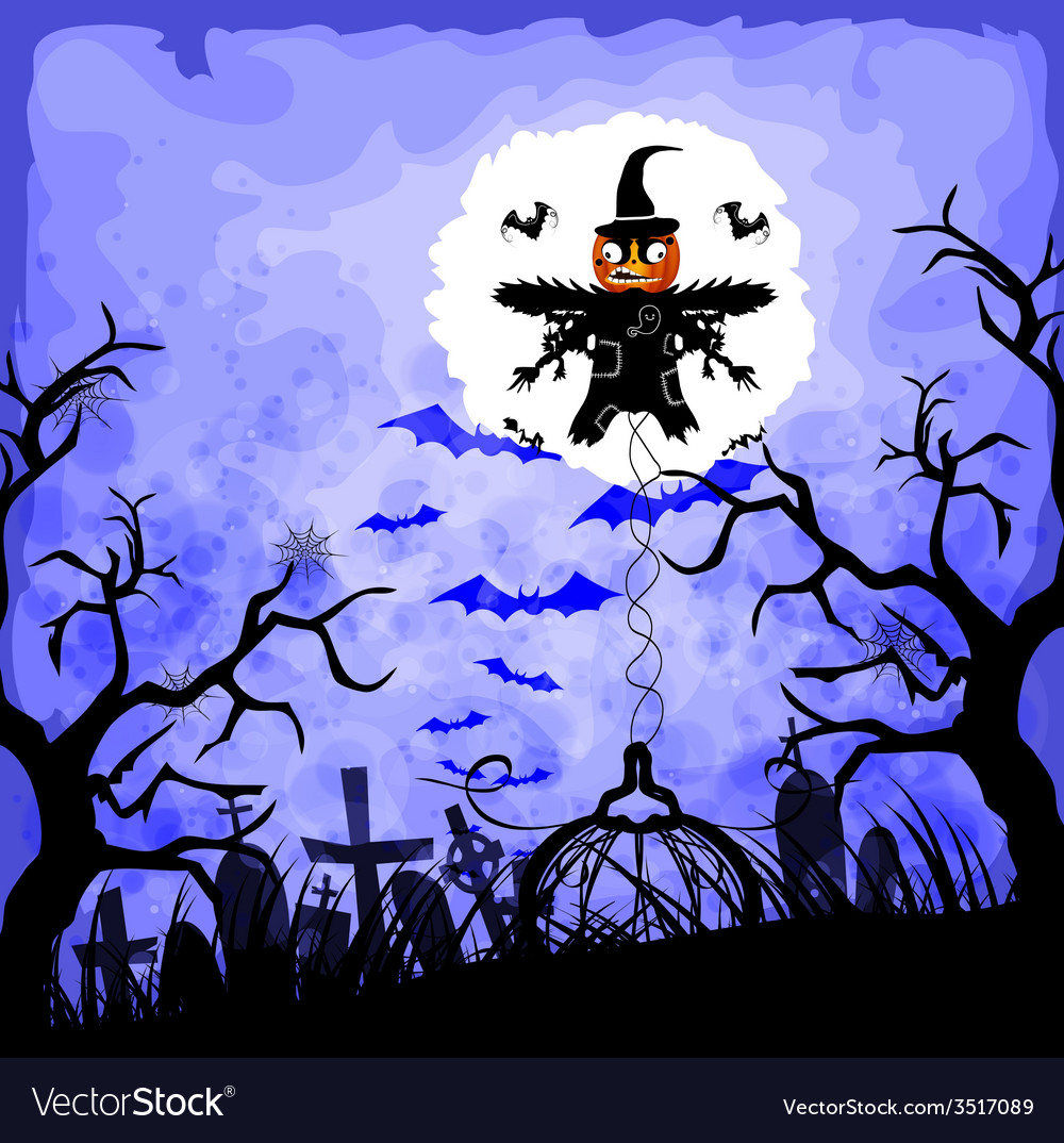 Halloween background with scarecrow vector | Price: 1 Credit (USD $1)