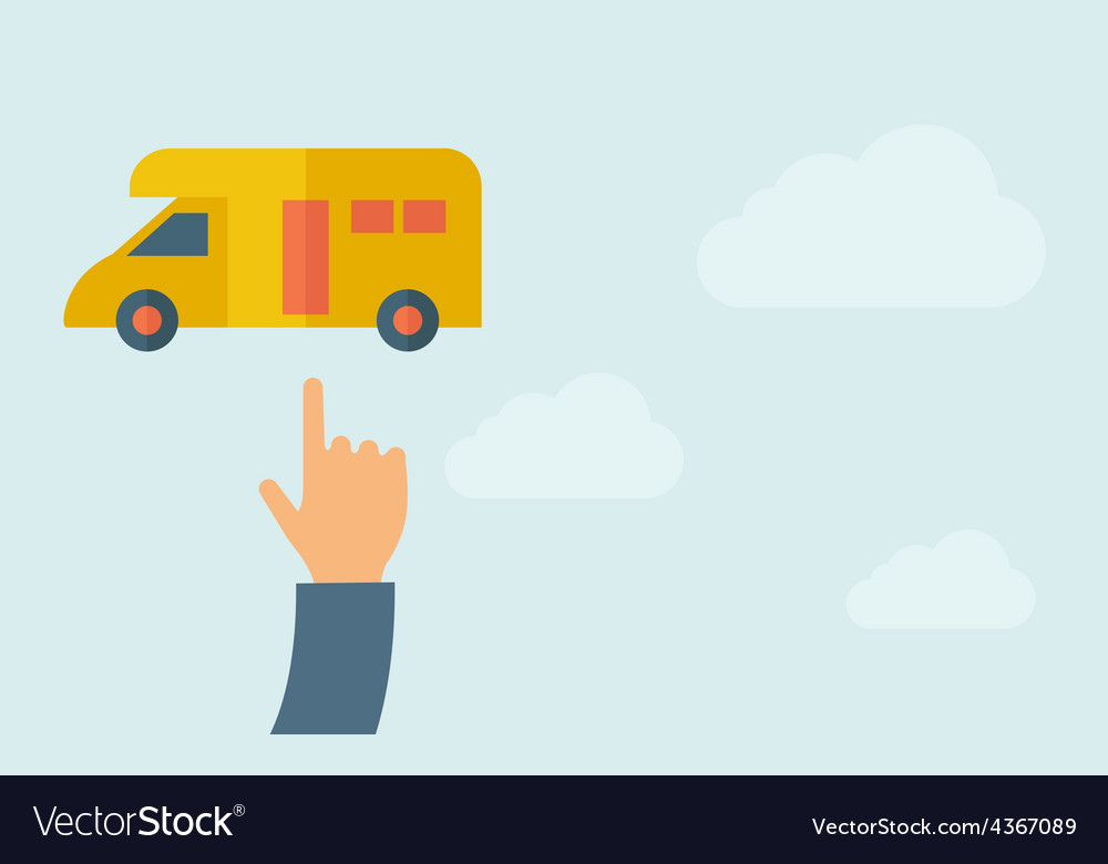 Hand pointing to a van icon vector | Price: 1 Credit (USD $1)