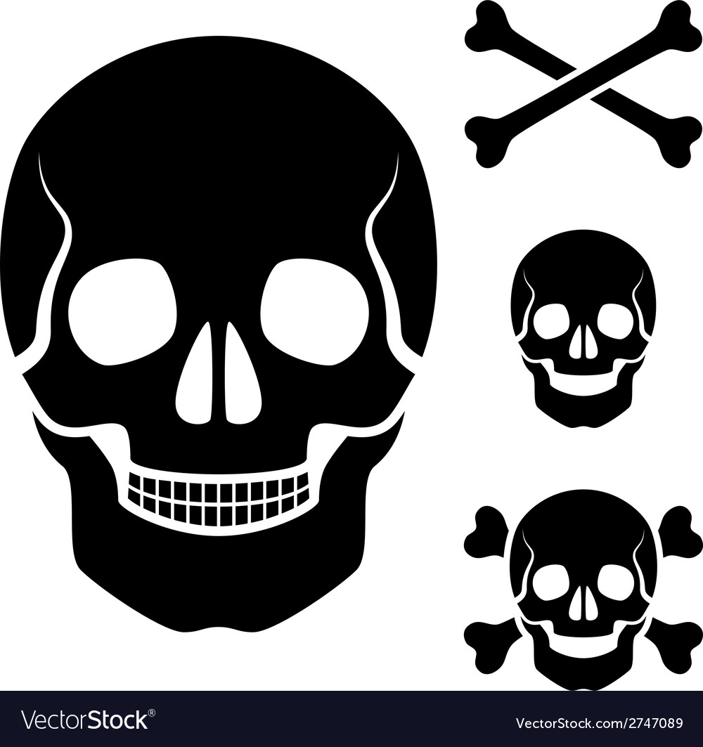 Human skull cross bones symbol vector | Price: 1 Credit (USD $1)