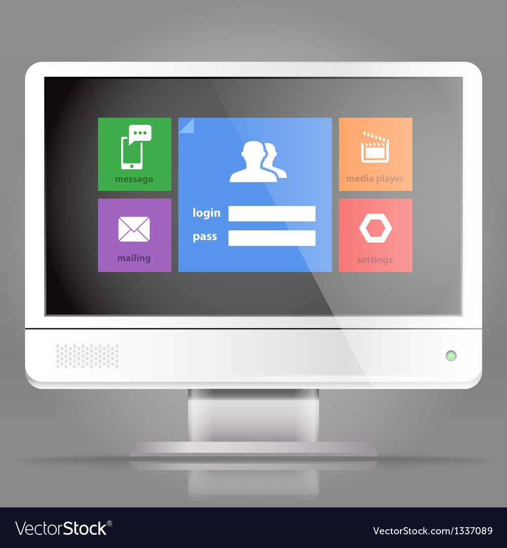 Modern lcd monitor with tile interface vector | Price: 1 Credit (USD $1)