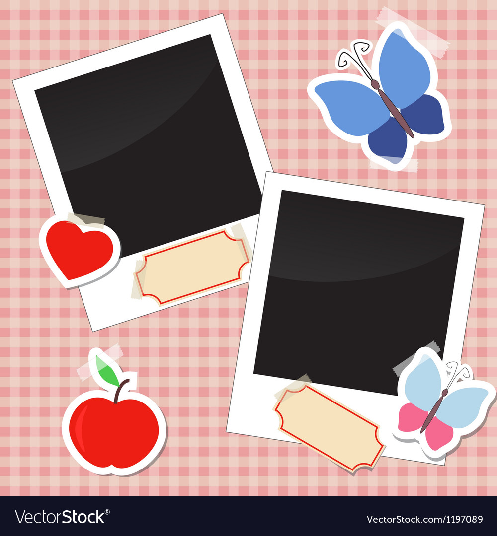 Photos stickers tags with tape vector | Price: 1 Credit (USD $1)