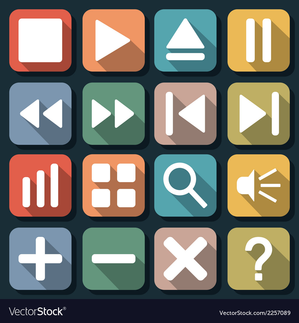 Player interface flat icons vector | Price: 1 Credit (USD $1)