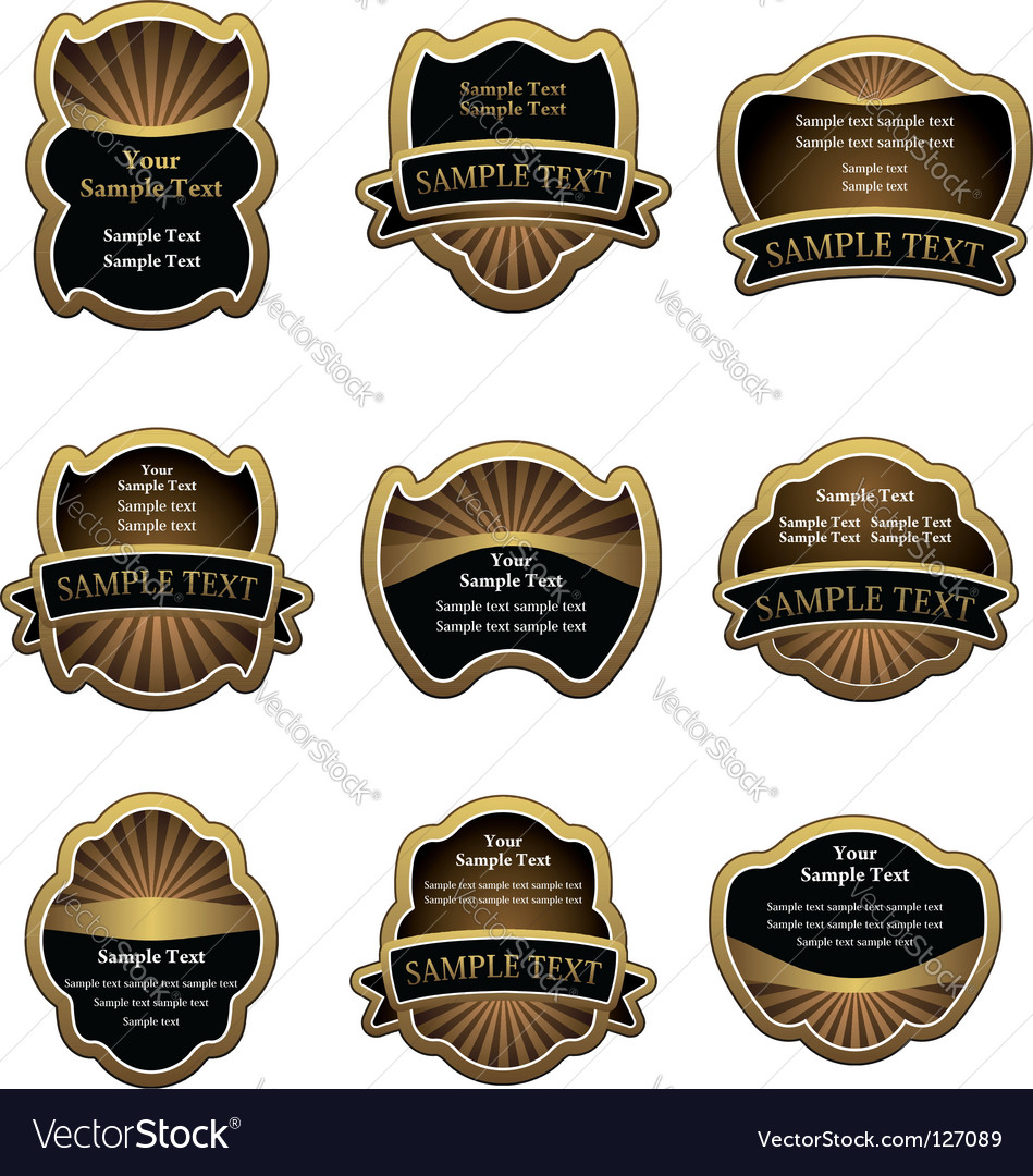 Set of vintage gold labels vector | Price: 1 Credit (USD $1)