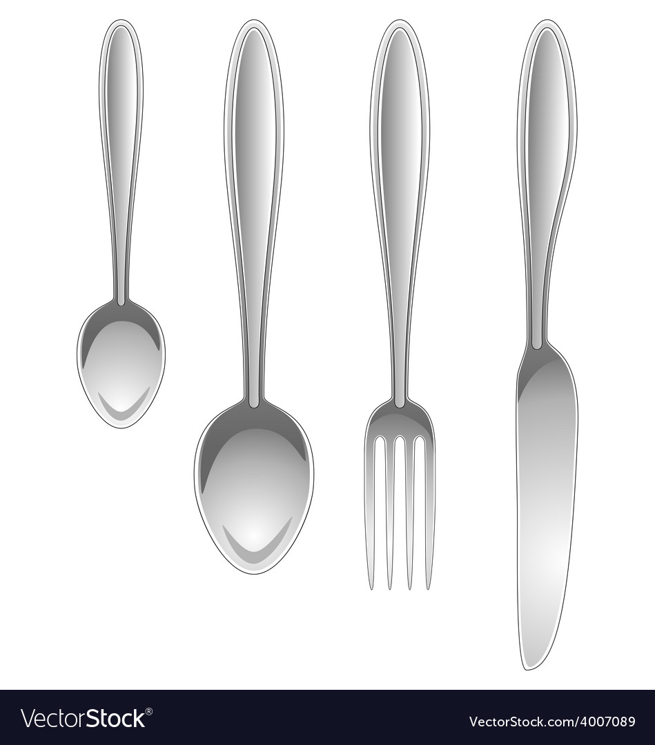 Silver kitchen table utensils isolated on white vector | Price: 1 Credit (USD $1)