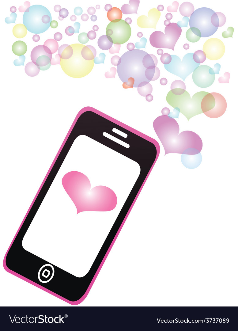 Smartphone sharing love pastel color message vector | Price: 1 Credit (USD $1)