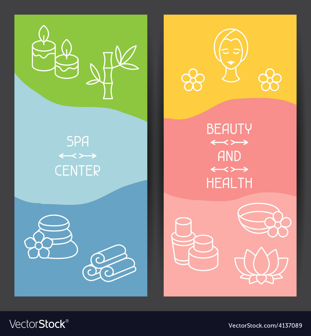 Spa and recreation banners with icons in linear vector | Price: 1 Credit (USD $1)