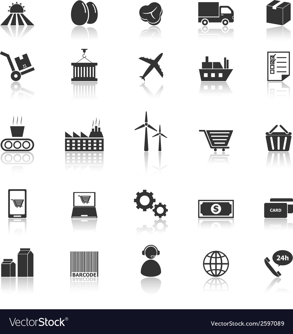 Supply chain icons with reflect on white vector | Price: 1 Credit (USD $1)