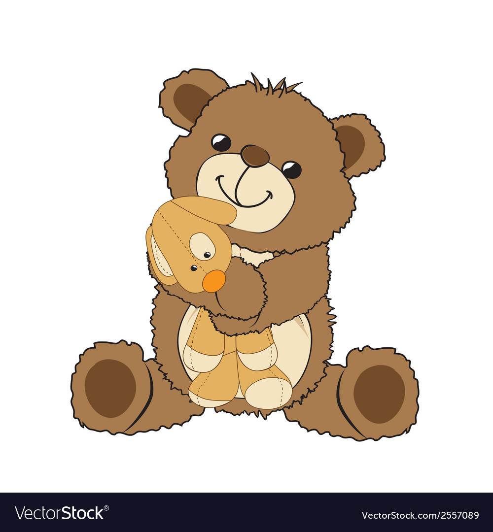 Teddy bear playing with his toy a little dog vector   Price: 1 Credit (USD $1)