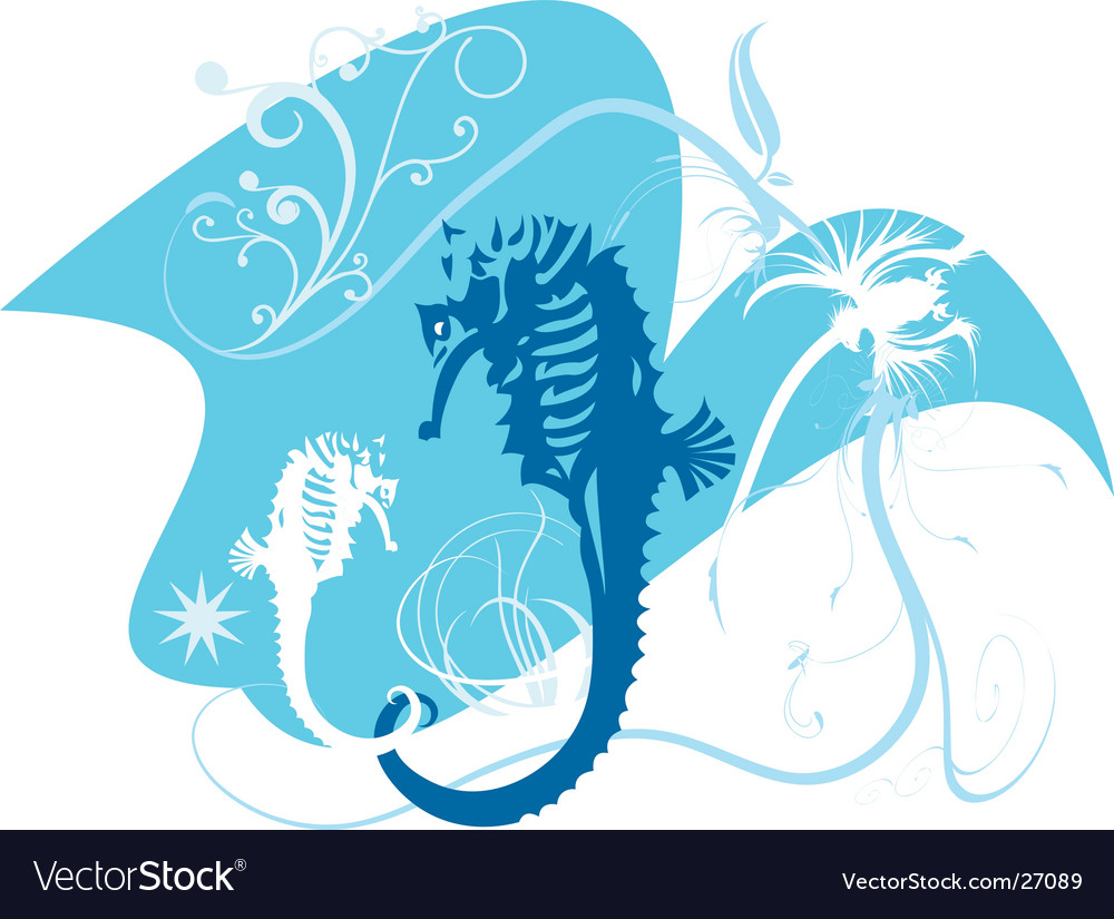 Two seahorses vector | Price: 1 Credit (USD $1)
