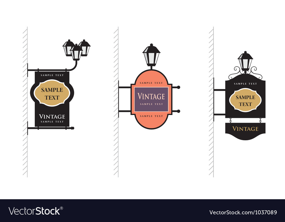 Vintage lamp sign vector | Price: 1 Credit (USD $1)