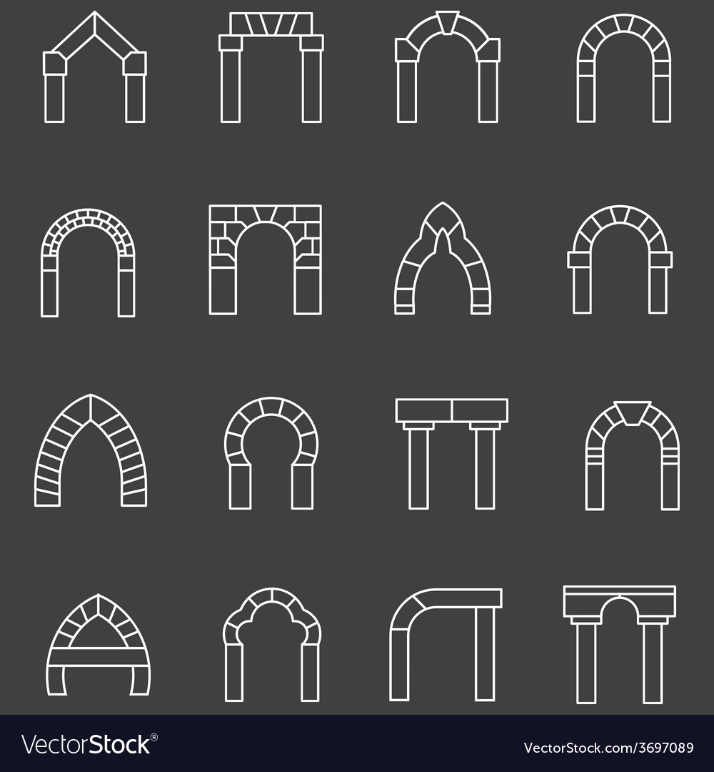 White flat line icons for archway vector | Price: 1 Credit (USD $1)