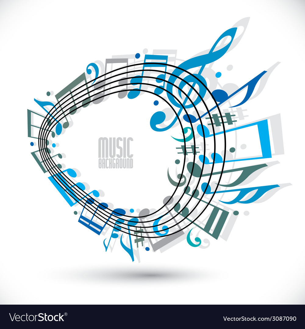 Blue music background with clef and notes music vector | Price: 1 Credit (USD $1)