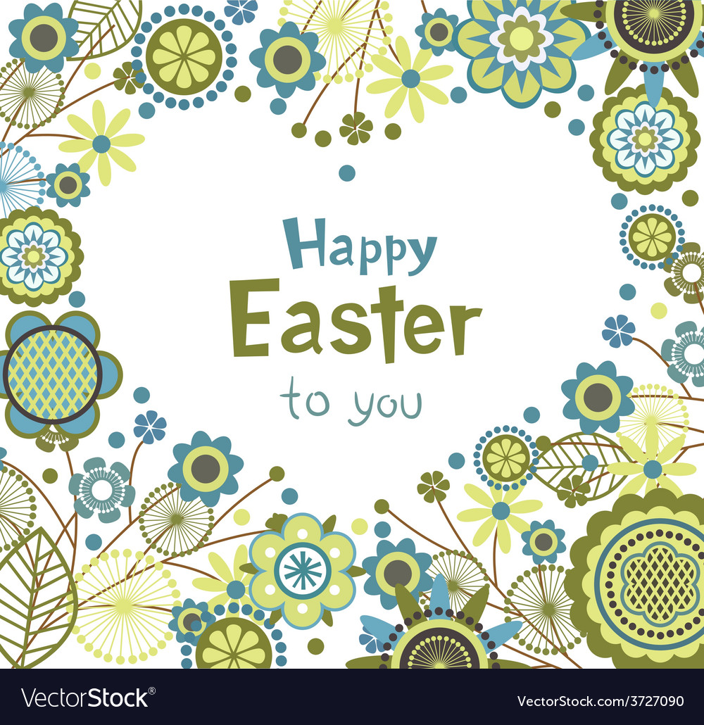 Easter greeting card with floral frame in heart vector | Price: 1 Credit (USD $1)