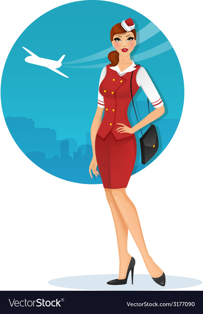 Girl in stewardess uniform vector | Price: 1 Credit (USD $1)