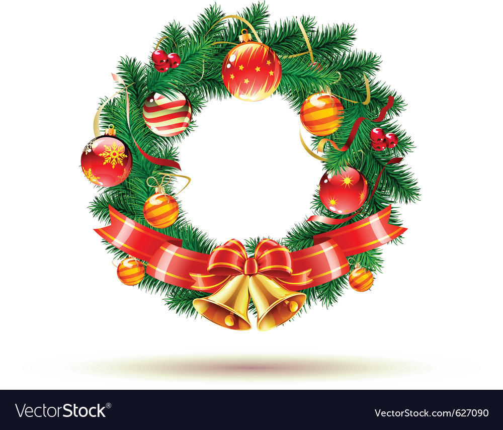 Green christmas wreath vector | Price: 3 Credit (USD $3)
