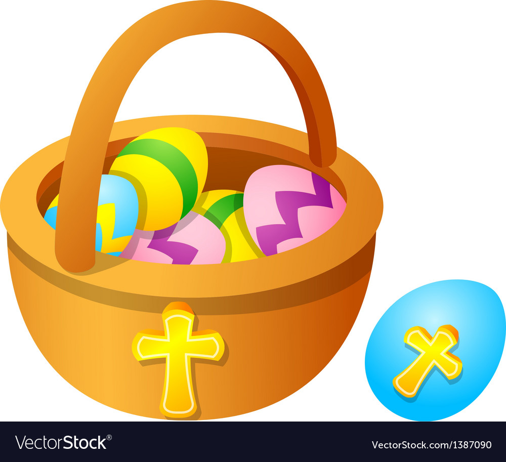 Icon easter egg and basket vector | Price: 1 Credit (USD $1)