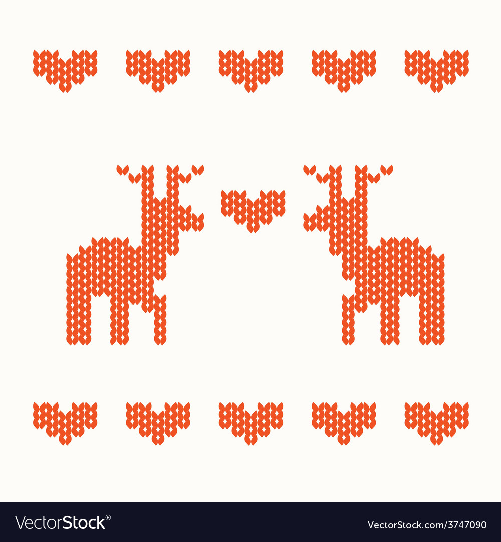 Knitted ornament with deer vector | Price: 1 Credit (USD $1)