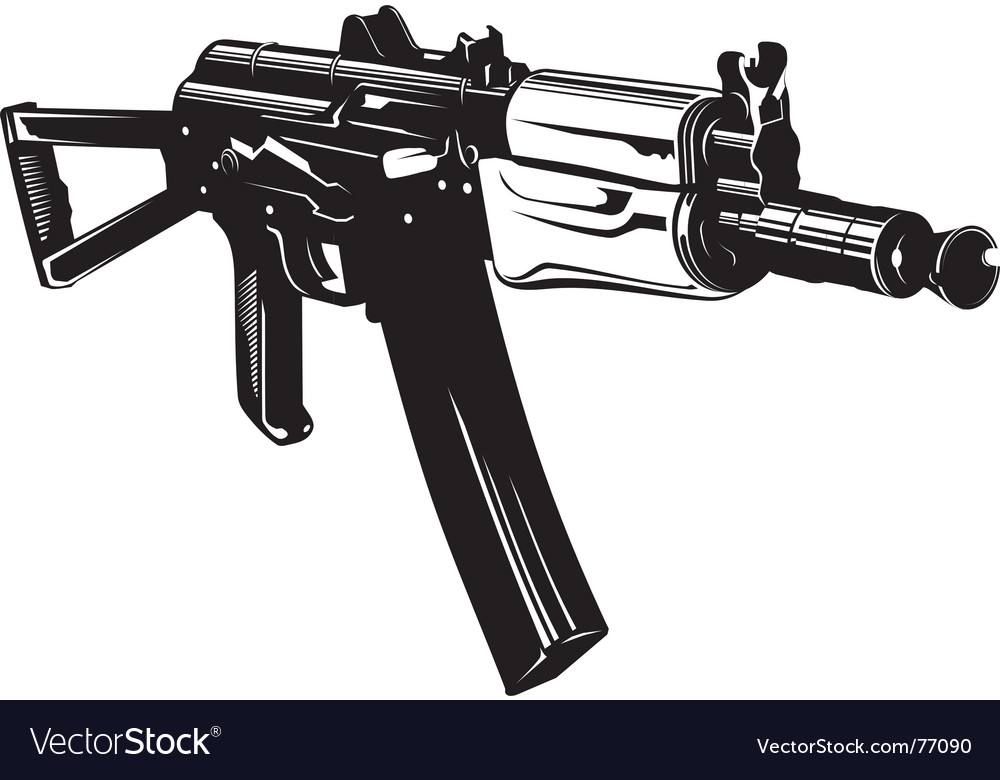 Machine gun aks74u vector | Price: 1 Credit (USD $1)