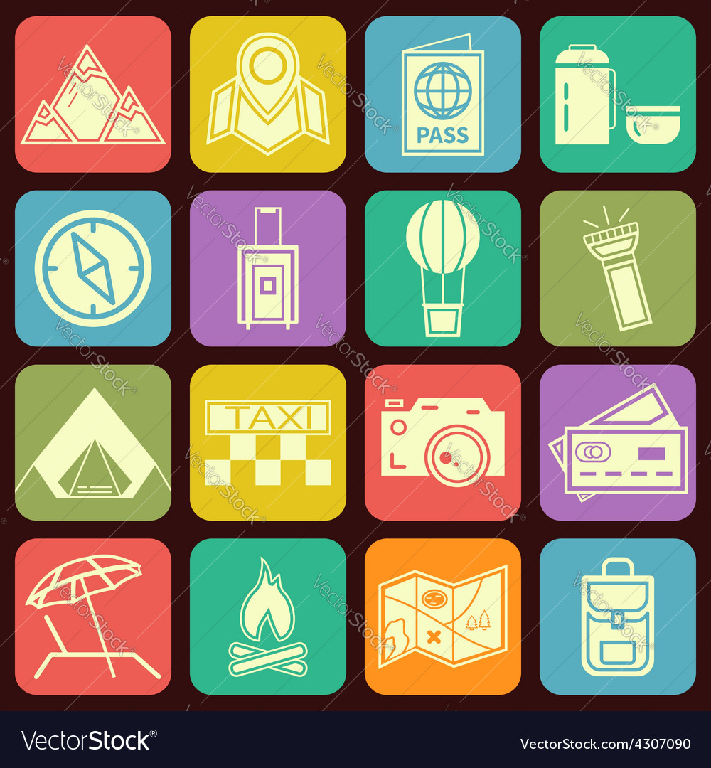 Modern flat traveling and camping icons vector | Price: 1 Credit (USD $1)