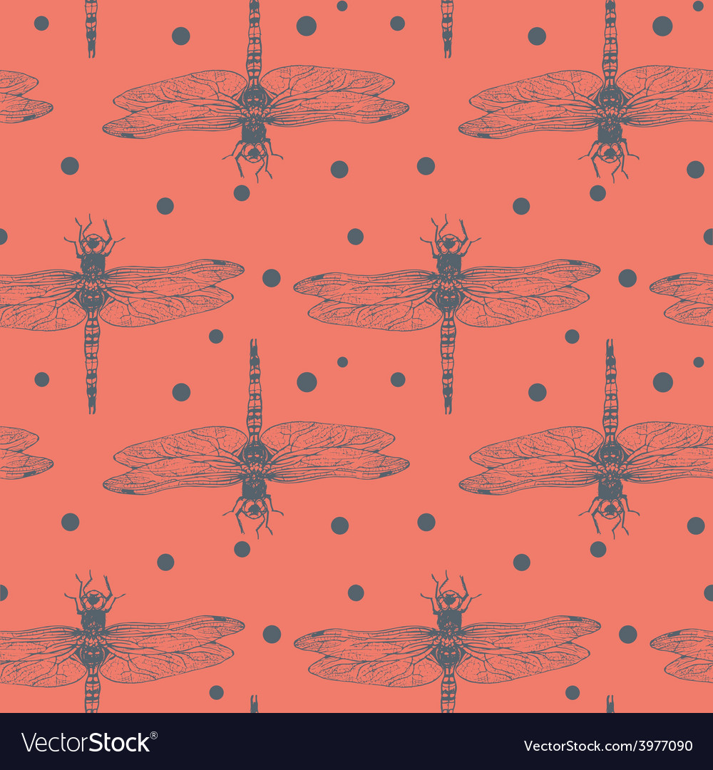 Seamless hand dawn pattern with dragonfly vector | Price: 1 Credit (USD $1)