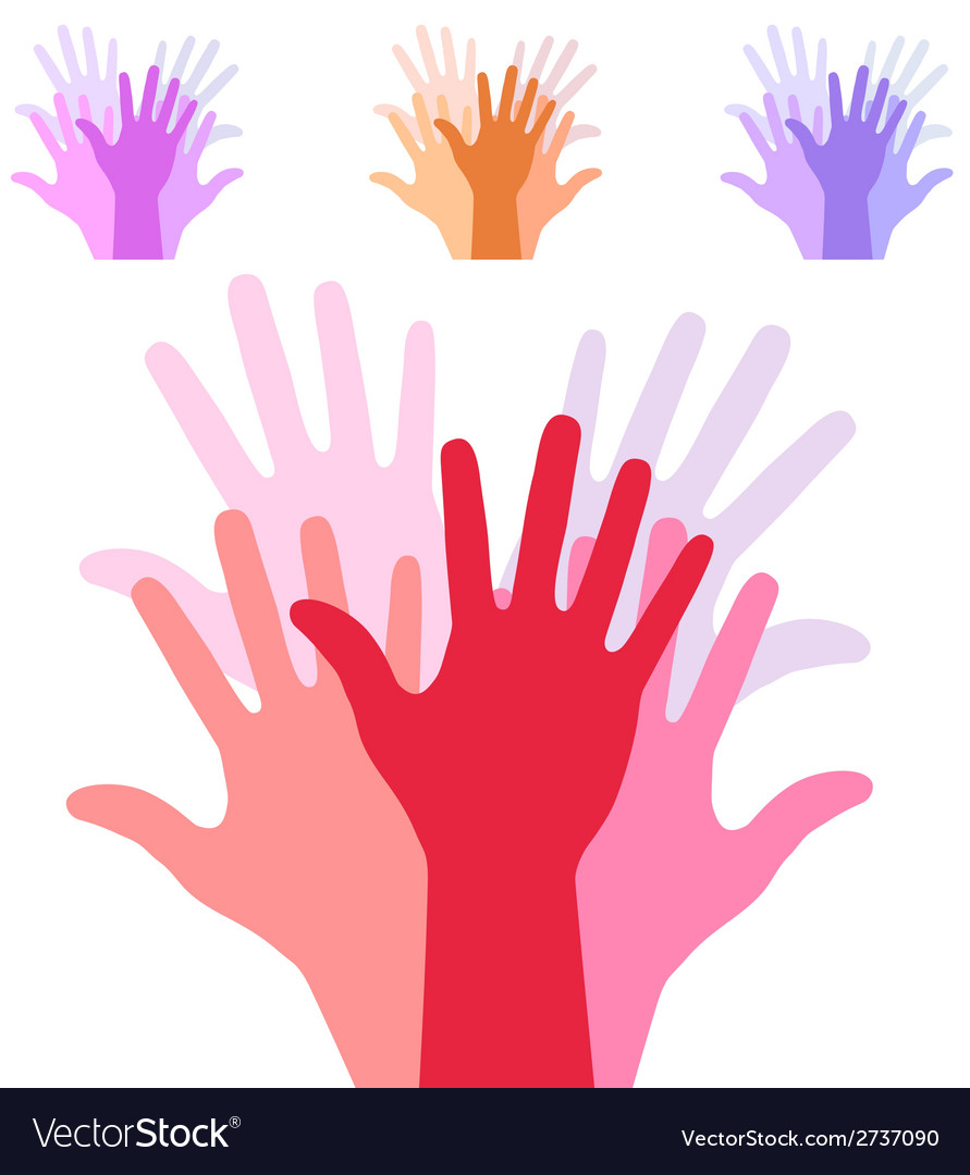 Set of colorful up hands silhouette vector | Price: 1 Credit (USD $1)