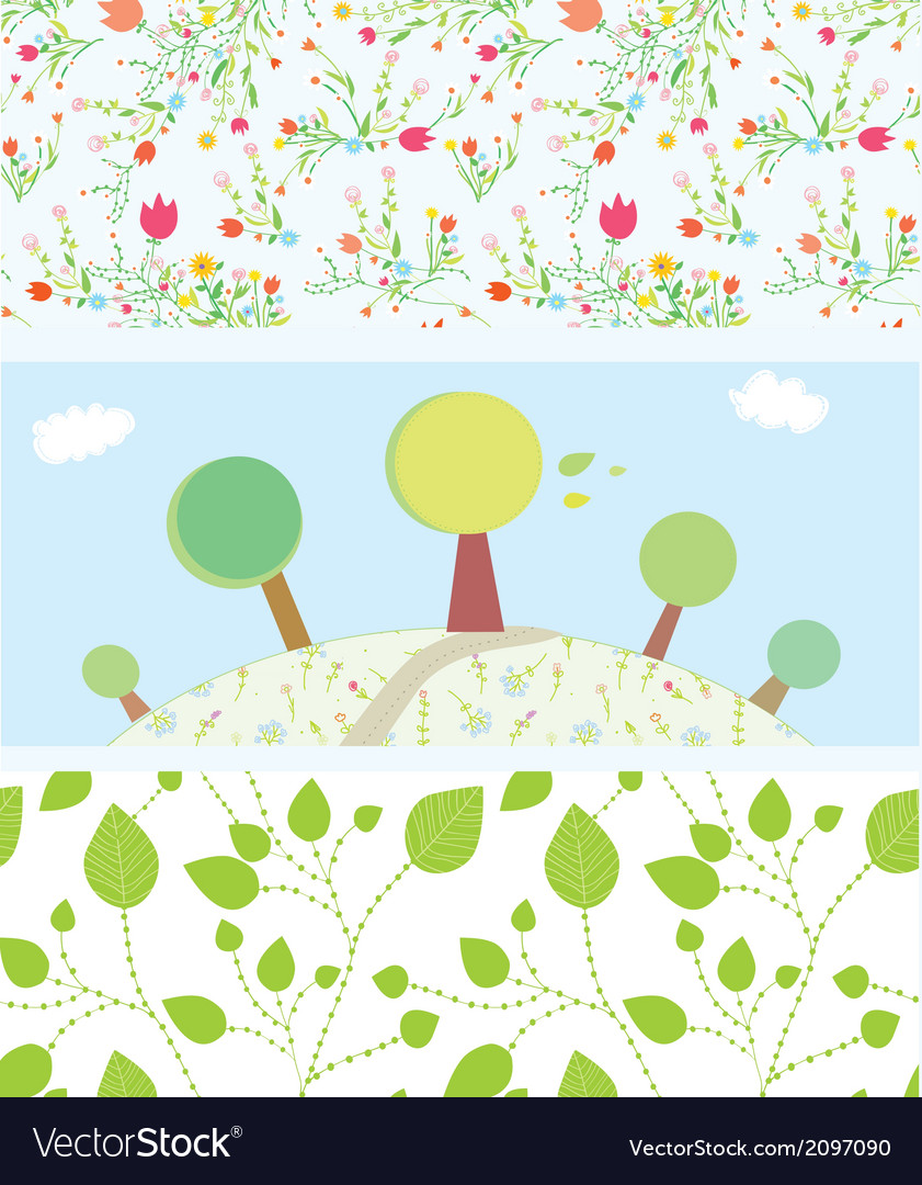 Spring banners with flowers trees leaves patterns vector | Price: 1 Credit (USD $1)