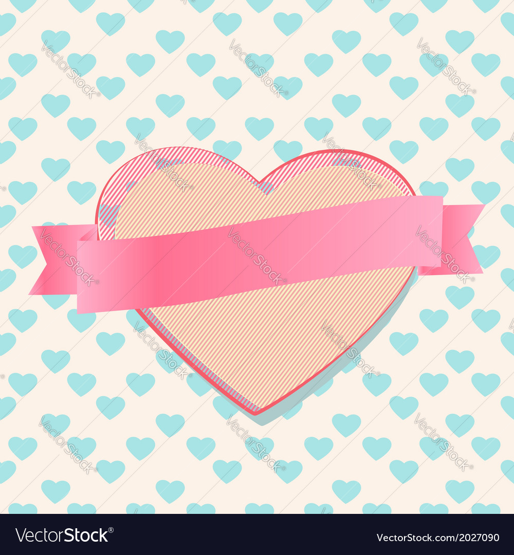 Valentines heart with a blank ribbon banner vector