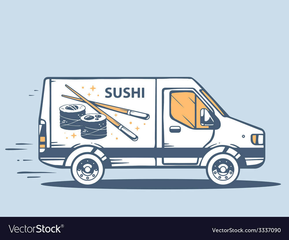 Van free and fast delivering sushi to cus vector | Price: 3 Credit (USD $3)