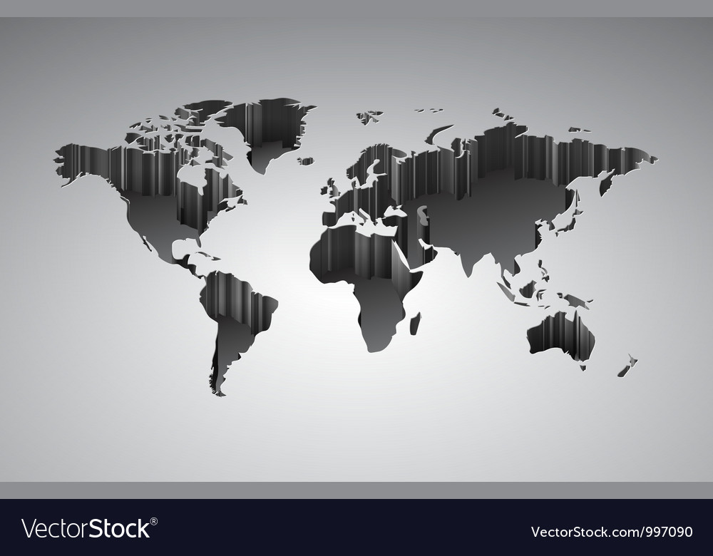 World map with 3d-effect vector | Price: 1 Credit (USD $1)