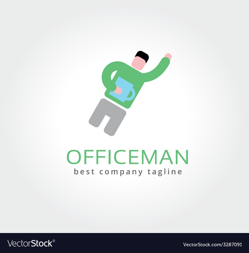 Abstract office man with coffe cup logo icon vector | Price: 1 Credit (USD $1)