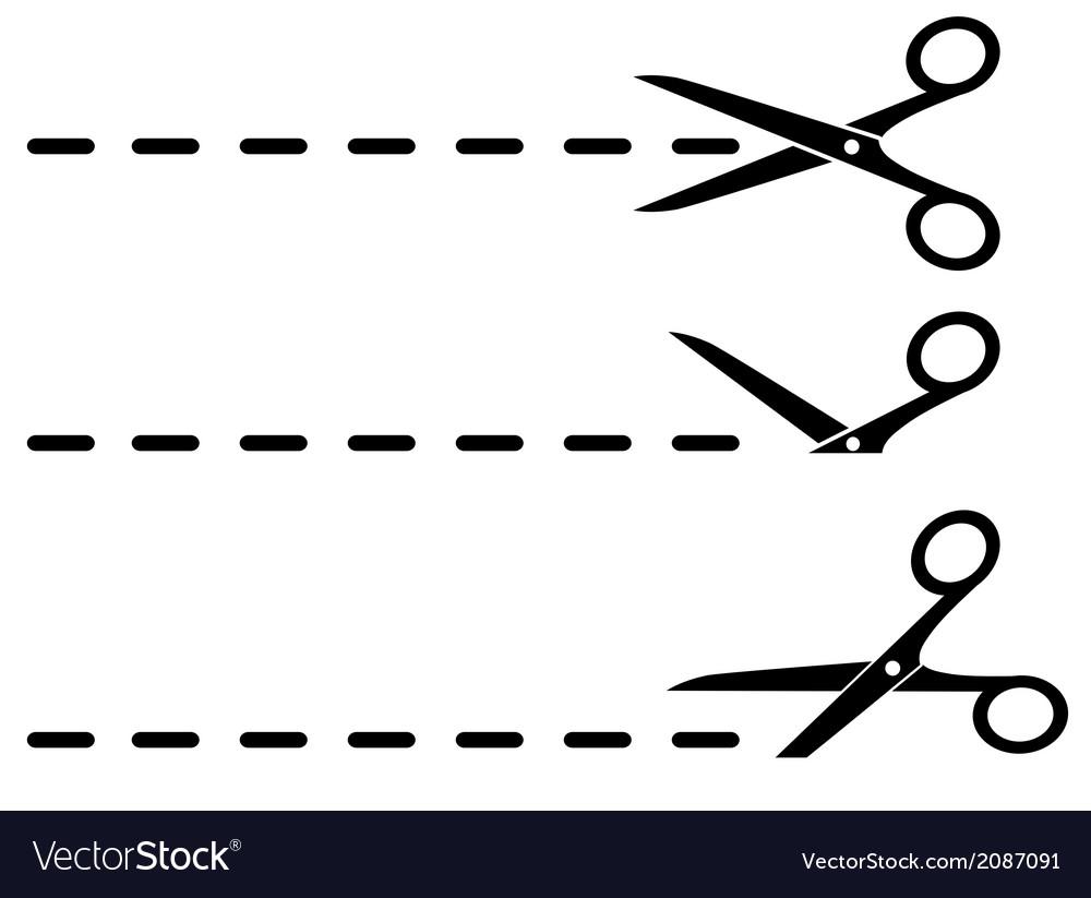 Black scissors and cut lines vector | Price: 1 Credit (USD $1)