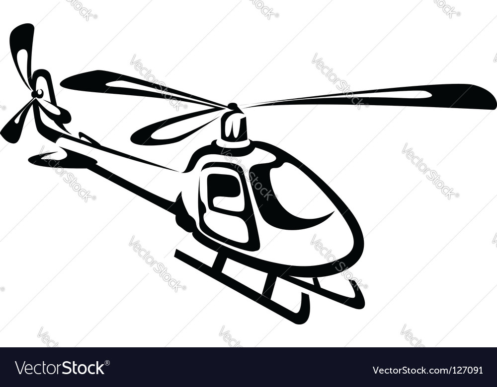 Flying helicopter vector