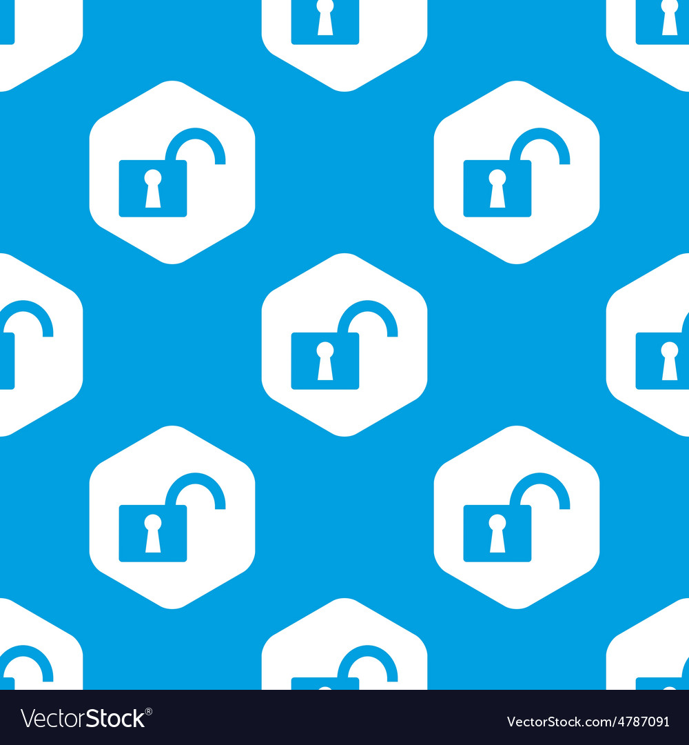 Open padlock hexagon pattern vector | Price: 1 Credit (USD $1)
