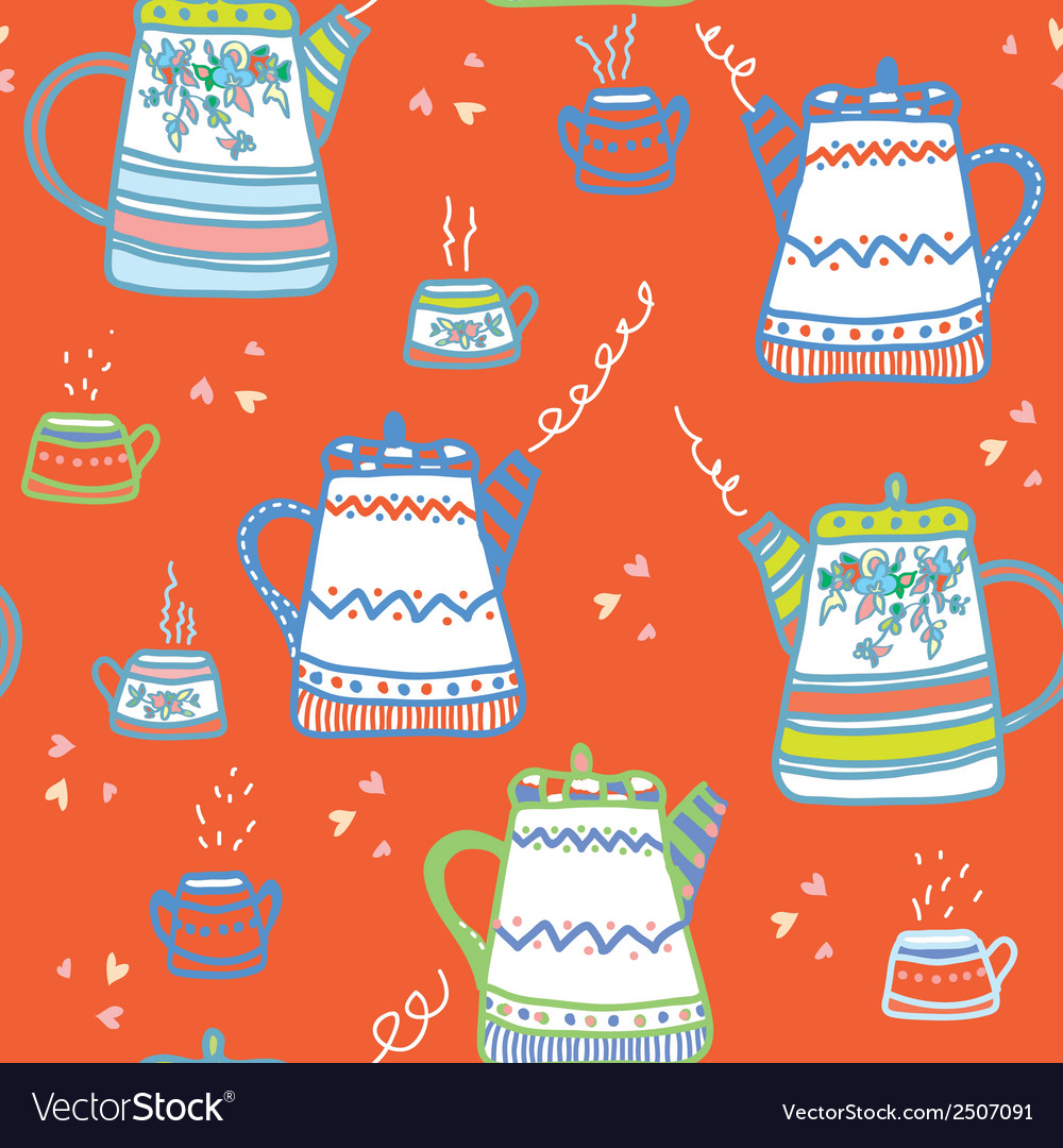 Tea seamless pattern wih cups and pots vector | Price: 1 Credit (USD $1)