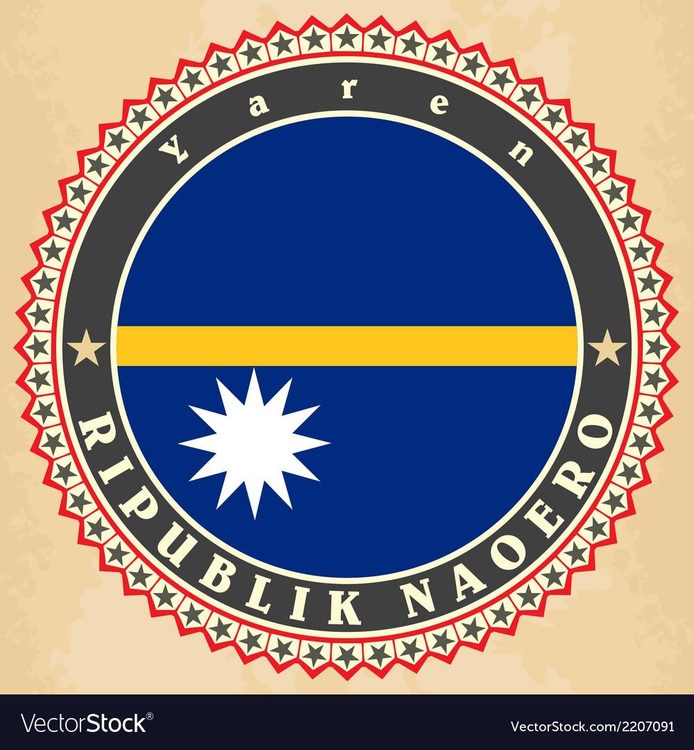 Vintage label cards of nauru flag vector   Price: 1 Credit (USD $1)