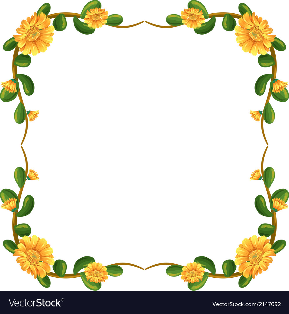 A floral border with yellow flowers vector | Price: 1 Credit (USD $1)
