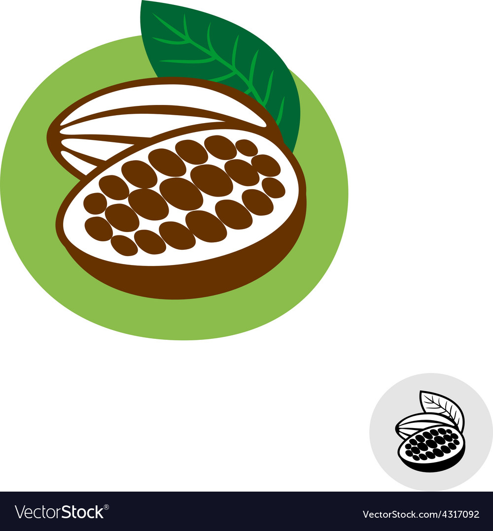 Cocoa pod with beans badge symbol vector | Price: 1 Credit (USD $1)