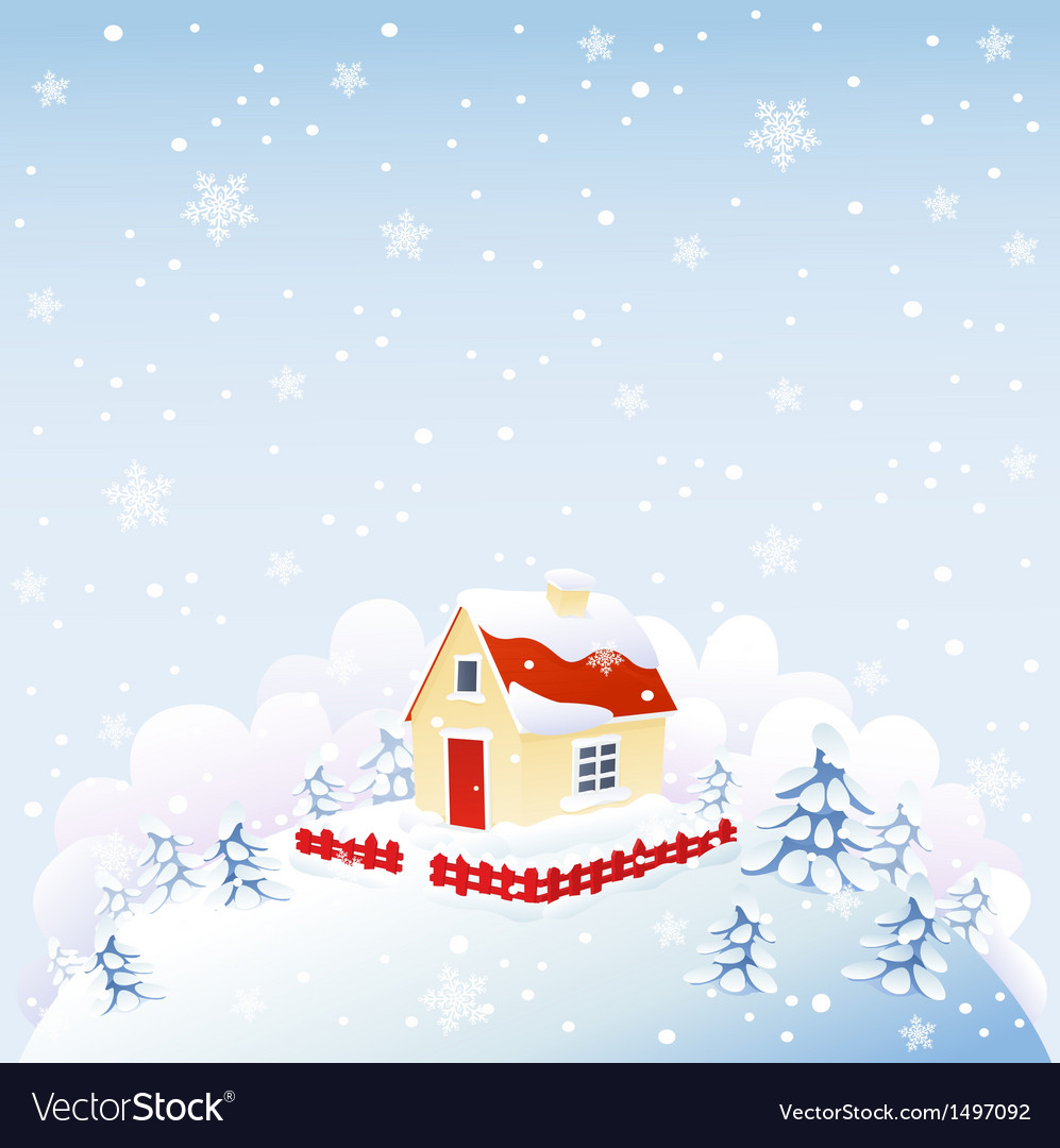 Cute house in winter time vector | Price: 3 Credit (USD $3)