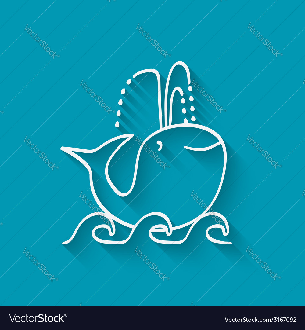 Cute whale on wave vector | Price: 1 Credit (USD $1)