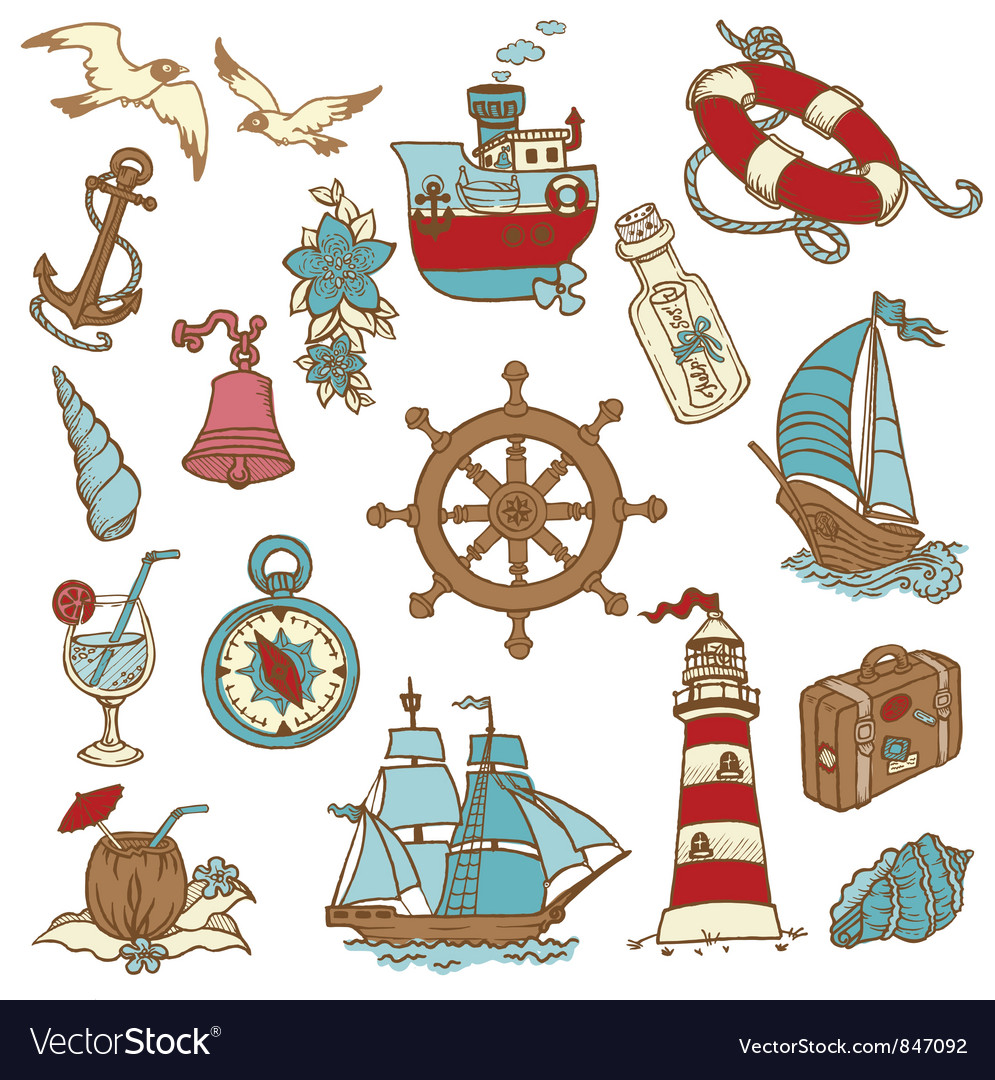 Doodle sea elements vector | Price: 1 Credit (USD $1)