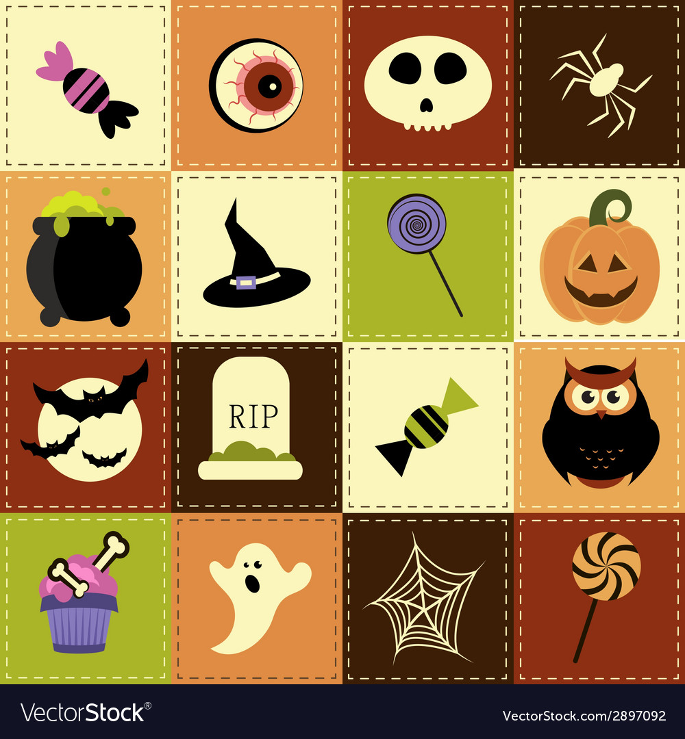 Patchwork background with halloween elements vector | Price: 1 Credit (USD $1)