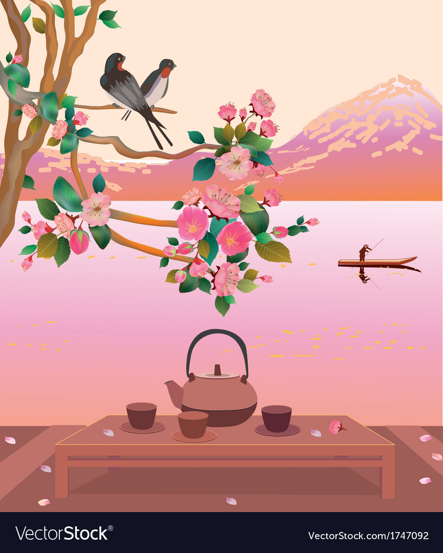 Sakura tea ceremony menu vector | Price: 1 Credit (USD $1)