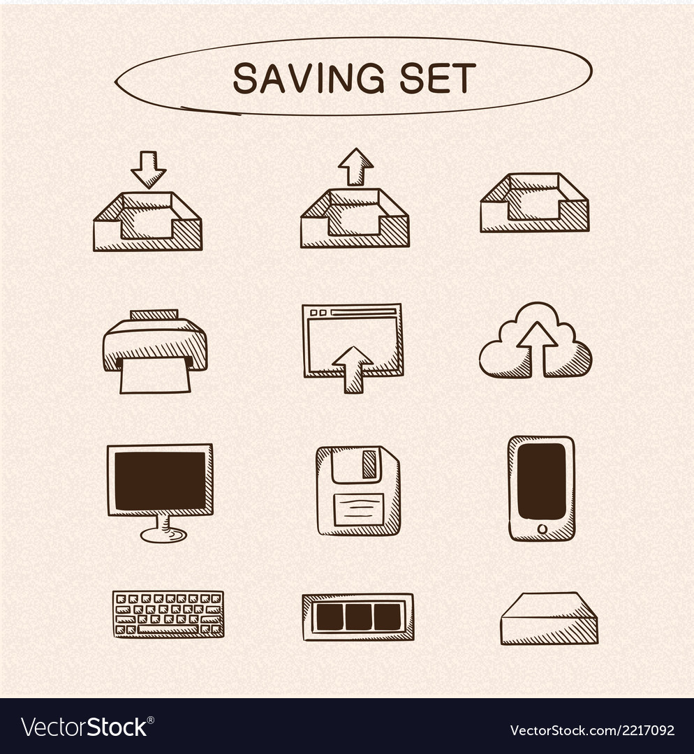 Save and store data symbols set vector | Price: 1 Credit (USD $1)