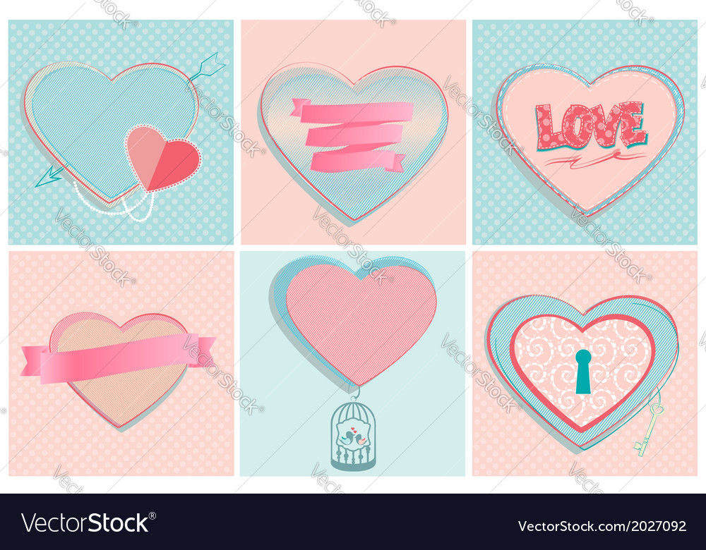 Set of romantic heart shapes vector | Price: 1 Credit (USD $1)