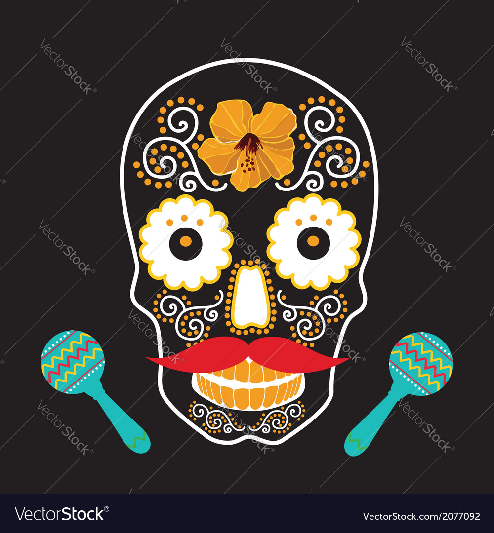 Skull with ornament vector | Price: 1 Credit (USD $1)